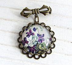 Victorian Violets Brooch .. jewellery by beadishdelight on Etsy, £8.50