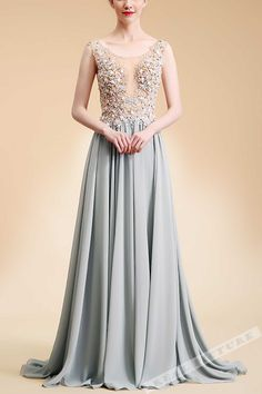 Gray chiffon prom dress with lace appliques