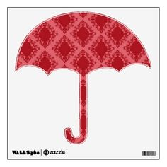 Red Damask Umbrella Wall Decals