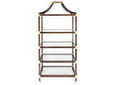 Brighton Etagere;Alder wood frame with removable glass insert shelving and antique gold finished caps. Custom sizes and finishes available. List price starting at $7,360.