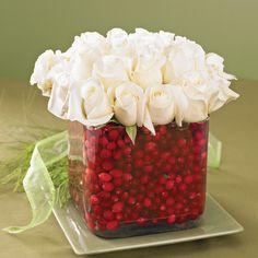White Rose Cranberry Vase