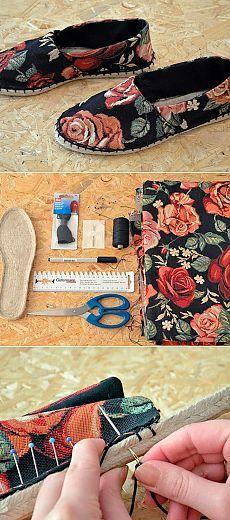 Un nuevo calzado sobre la suela vieja. Espadrili Sewing Slippers, Felted Slippers, Crochet Slippers, Sewing Hacks, Sewing Tutorials, Sewing Patterns, Fabric Crafts, Sewing Crafts, Sewing Projects