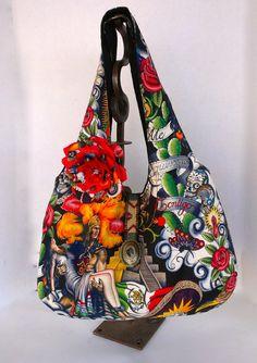 Large  Reversible  Hobo Style Bag  Sugar Skull  by OliviabyDesign, $32.95 #boho hobo bag #mexican boho print bag #sugar skull