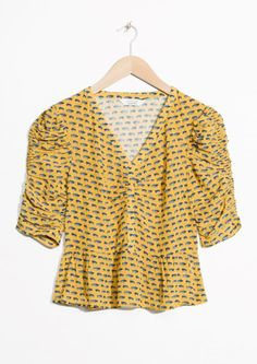& Other Stories image 2 of Peplum Blouse in Car Print / Yellow