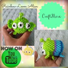 Here is a tutorial for the alien from Toy Story inspired by TSUM TSUM. Rainbow Loom Tutorials, Rainbow Loom Patterns, Rainbow Loom Creations, Rainbow Loom Bands, Rainbow Loom Charms, Rainbow Loom Bracelets, Rubber Band Crafts, Rubber Bands, Loom Animals