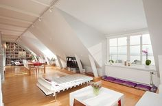 Attic Apartment With Track Lighting And White Walls : Living In An Attic Apartment