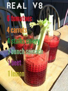 Juicing Real V8 - low in sugar, delicious, nutrient dense. The juice hydrates and detoxifies all of your cells.
