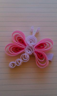 Items similar to Pink & White Dragonfly Ribbon Sculpture Hairclip on Etsy