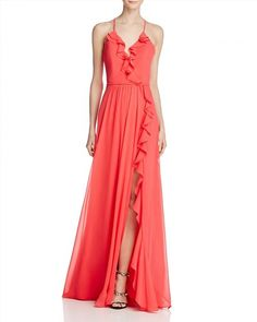 298.00$  Watch here - http://viodi.justgood.pw/vig/item.php?t=pzldyis0395 - Faviana Couture Ruffle Front-Slit Gown