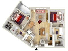 2 bedroom - Piazza floor plan - rendering - Brand new apartments! Sims House Plans, House Floor Plans, 3d Building, Building Plans, Sims 4 Houses, 3d Rendering, Renting A House, My House, Layouts