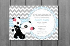 Blue Chevron Panda Bear Baby Shower Party by CuddleBugInvitations, $9.00