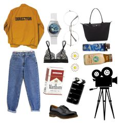 """film school dropout // director/film trash"" by molawho on Polyvore featuring moda, Monsoon, Dr. Martens, Levi's, Casetify, La Perla i Longchamp"