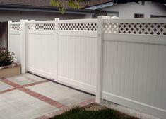 Vinyl Fence Driveway Gates Cool Com Decorating Ideas 20 - Modern Modern Fence, Sliding Fence Gate, Living Privacy Fences, Driveway, Vinyl Fence, Wood Gates Driveway, Front Garden, Wood Grain Fence