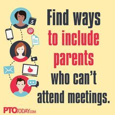 Help parents stay involved! Send out meeting summaries on social channels. Try live streaming your meetings! Do regular updates by email.     #pto #pta