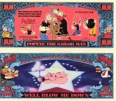 Popeye The Sailor Man Million Dollar Novelty Money