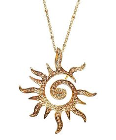 Look what I found on #zulily! Yellow Gold Crystal Blazing Sun Pendant Necklace by Amabel Designs #zulilyfinds