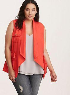 Plus Size Drape Front Linen Vest, HIBSISCUS