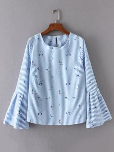 Shop Bell Sleeve Vertical Striped Keyhole Back Blouse online. SheIn offers Bell Sleeve Vertical Striped Keyhole Back Blouse & more to fit your fashionable needs. Latest Street Fashion, Fashion 2017, Hijab Fashion, Korean Fashion, Fashion Outfits, Womens Fashion, Blouse Styles, Blouse Designs, Whimsical Fashion