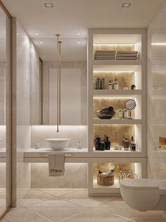"Ideas apartment Ideas modern Kids Bathroom in the project ""Apartment in Sky Fort"" by Ab-architects Bathroom Design Luxury, Modern Bathroom Decor, Bathroom Layout, Small Bathroom, Bathroom Ideas, Modern Luxury Bathroom, Bathroom Storage, Small Elegant Bathroom, Bathroom Lighting Design"