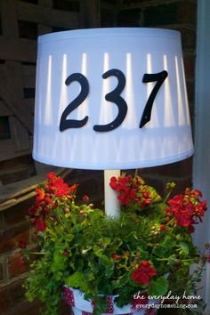 Solar Powered Front Porch Lamp ... {Oh and a Planter, Too!} I st paint/stencil numbers??
