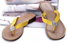 braided yellow flip flops