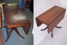 Before & After: Left- Mahogany drop leaf table, damaged by soot and water. Right- The table has been stripped, sanded, stained, finished, and is fully restored.