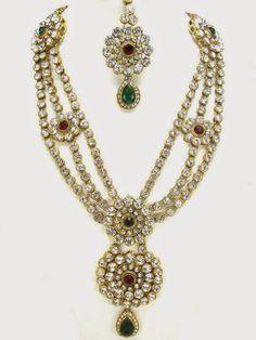 Buy Celebrity Necklaces White , Maroon & Green Bridal Kundan & Polki Sets Online