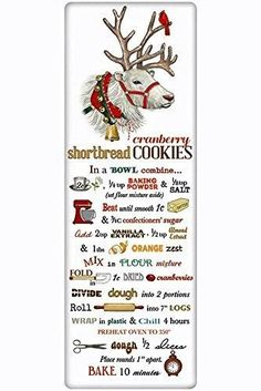Charm your guests in the kitchen with a fabulous vintage look flour sack towel. Mary Lake Thompson towel featuring a perfect recipe for cranberry shortbread cookies! Christmas Goodies, Christmas Desserts, Christmas Treats, Holiday Treats, Holiday Recipes, Old Recipes, Vintage Recipes, Cookie Recipes, Recipies