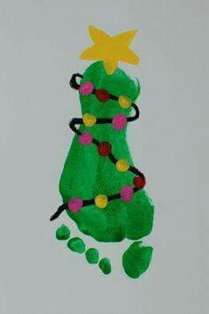 Christmas  .  Childhood Christmas art  .  Footprint Christmas Tree