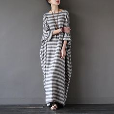 Stripe long loose dress summer clothes