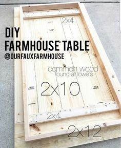 DIY farmhouse table with measurements - let's make some from cheap wood and shar. DIY farmhouse table with measurements – let's make some from cheap wood and share our master pi Diy Wood Projects, Furniture Projects, Home Projects, Wood Crafts, Diy Furniture, Woodworking Projects, Teds Woodworking, Furniture Plans, Kitchen Furniture