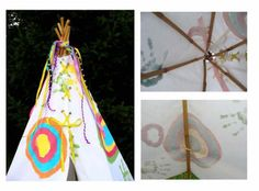Virtually no-sew teepee (just sew rings onto fabric plus grommets)