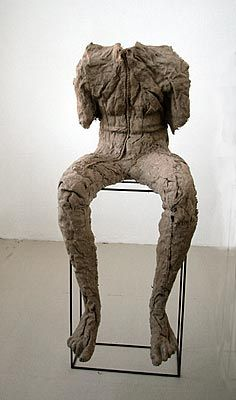 Magdalena Abakonwicz, From a Group of Seated Figures, burlap and resin, pedestal, steel