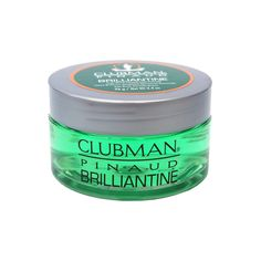 Clubman Brilliantine Pomade 3.4 oz gives hair high shine and makes it easy to mold...  	Controls curly, wavy hair 	Non-oily, non-greasy, easy to wash out formula 	Sculpts coarse hair and lasts for days  3.4 fl oz jar