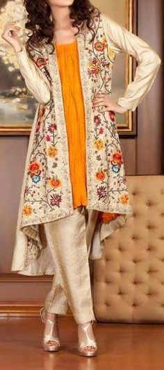 6419a511bfe2 Front Open Double Shirt Dresses Frocks Designs 2017-2018 Collection  Pakistani Gowns
