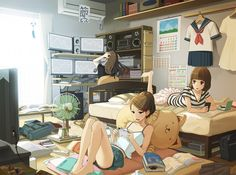 ✮ ANIME ART ✮ otaku. . .nerd. . .friends. . .bedroom. . .gamer girls. . .videogames. . .reading. . .books. . .computers. . .cute. . .kawaii