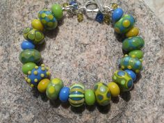SRA HANDMADE LAMPWORK Bead Bracelet in Cypress, Bright Cobalt and Misted Yellow-Rich Colours