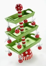 Christmas Candy tray tree - simple to DIY with some wooden trays, dowels a plant pot - you could decorate it with your favourite baubles!