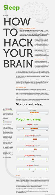 """Interesting: """"... It seems that all you really need to survive and feel rested is the REM phase, which is only a tiny portion of your actual sleep phases at night . . . There are five methods for polyphasic sleep that all focus on many 20-minute naps throughout the day and possibly a couple hours of core sleep at night."""""""