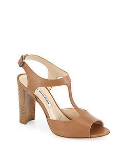 Manolo Blahnik Islay 105 Leather T-Strap Sandals