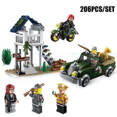 206PCS Military Speical Task Motorcycle Vehicle Model Bricks Military Officer Figures Block Boy Toy Compatible With Enlighten #Affiliate