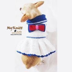 Sailor dog dress cute chihuahua clothing by Myknitt Designer Dog Clothes. #cute #fashion #dog #pets #chihuahua #cutedog