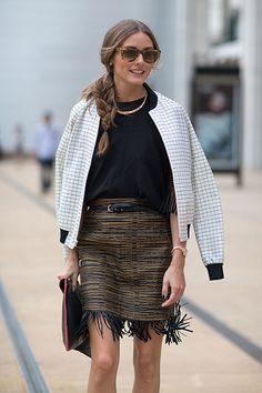 Olivia Palermo. Fringed pencil skirt. White sporty bomber.