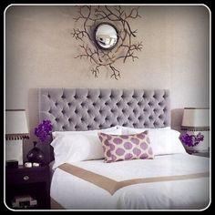 Custom Upholstered Headboard with Diamond Tufting - Shown in a King Size and in Light Gray Plush Velvet via Etsy