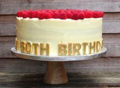 Lemon polenta with fresh raspberries 50th Birthday cake