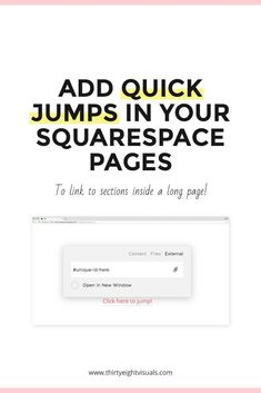 Today's bite-sized code trick is all about how to create quick jumps (aka anchor links or anchor points) inside long pieces of content – and between pages in your site – with just two lines of code! Website Optimization, Web Design Tips, Design Ideas, Seo Tips, Blogger Tips, Best Web, Cool Websites, Business Tips, Need To Know
