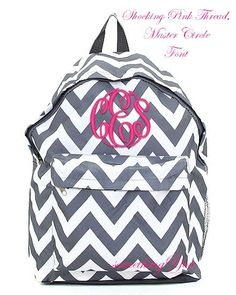 0d9a4ae54117 Pewter Gray Chevron Personalized Backpack - Grey Monogrammed Girls Kids  Childrens Zig Zag Stripes School Bookbag Hot Pink Lime Aqua Blue