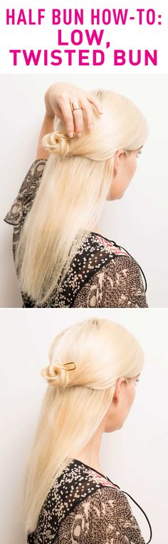 Twist your hair into a baby low bun for a sleeker look.