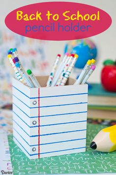 Easy and simple Back to School Pencil Holder for the kids! This is a perfect craft to make for the kids homework station or playroom! Kids Homework Station, Kids Gift Baskets, College School Supplies, Little Presents, Back To School Gifts, School Stuff, Teacher Christmas Gifts, Binder Covers, Diy Projects