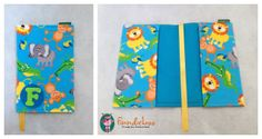 Beautiful fabric Plunket Book cover. Handmade by FinndieLoo